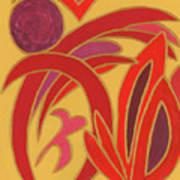 Red On Gold II Art Print
