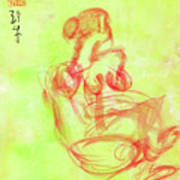 Red On Green Figure Art Print