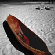 Red Paddle Boat Playa Del Carmen Art Print