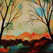 Red Tree Path Art Print