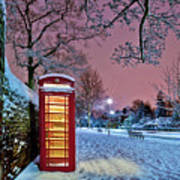 Red Phone Box Covered In Snow Art Print by Photo by John Quintero