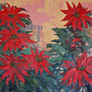 Red Poinsettias By George Wood Art Print
