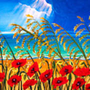 Red Poppies And Sea Oats By The Sea Art Print