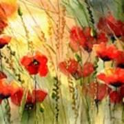 Red Poppies Watercolor Art Print