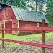 Red Rail Barn Art Print