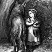 Red Riding Hood Meets Old Father Wolf Art Print