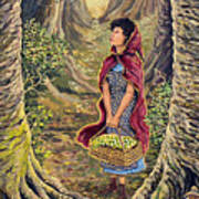 Red Riding Hood On The Path To Grama's House Art Print