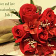 Red Roas Bouquet Jude 2 Art Print