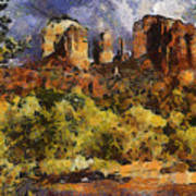 Red Rock Crossing Art Print by Elaine Frink