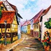 Red Roof - Palette Knife Oil Painting On Canvas By Leonid Afremov Art Print