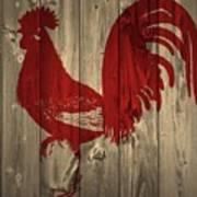 Red Rooster Barn Door Art Print