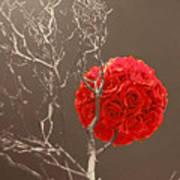 Red Rose Ball In Field Of Gray Art Print