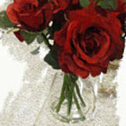 Red Roses And Glass Still Life 042216 1a Art Print