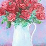 Red Roses In White Jug Art Print by Jan Matson