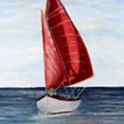 Red Sail Serenity Art Print