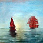 Red Sails In The Sunset Art Print