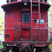 Red Sante Fe Caboose Train . 7d10476 Art Print by Wingsdomain Art and Photography