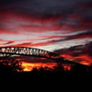 Red Skies At Pleasure Island Bridge Art Print
