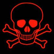 Red Skull And Crossbones Art Print
