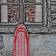 Red Sled Waiting Art Print