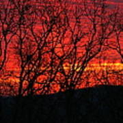 Red Sunrise Over The Ozarks Art Print
