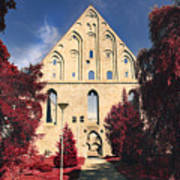 Red Surreal Abbey Ruins Art Print