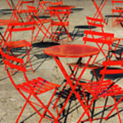 Red Tables And Chairs Art Print