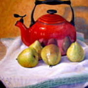 Red Teapot And Pears Art Print