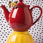 Red Teapot With Butterfly Art Print