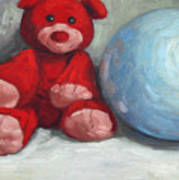 Red Teddy And A Blue Ball Art Print by William Noonan