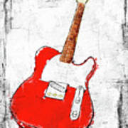 Red Telecaster Fine Art Illustration By Roly O Art Print