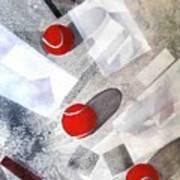 Red Tennis Balls On White Sand Art Print