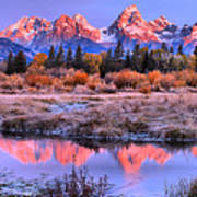 Red Tip Teton Reflection Panorama Art Print