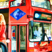Red Tourist Bus In New York Art Print