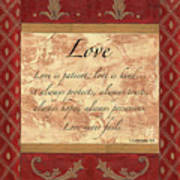 Red Traditional Love Print by Debbie DeWitt