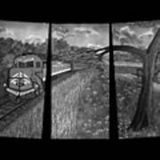 Red Train Passage In Black And White Art Print