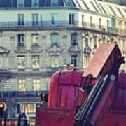 Red Truck In Paris Street Art Print