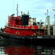 Red Tugboat Art Print