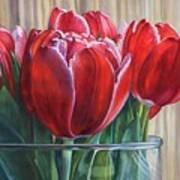 Red Tulips, Glass Rim Art Print