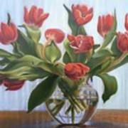 Red Tulips, Glass Vase Art Print