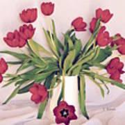 Red Tulips In Full Bloom Art Print