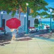 Red Umbrella In San Juan Art Print