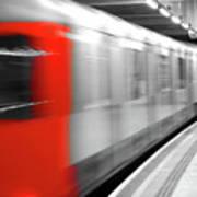 Red underground train Art Print