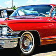 Red Vintage Cadillac Art Print