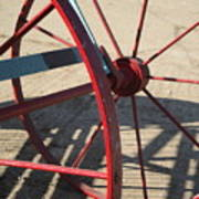 Red Waggon Wheel Art Print