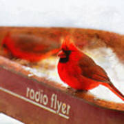 Red Wagon Winter Art Print