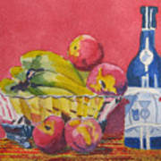 Red Wall Blue Wine Art Print