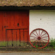 Red Wheel And Barn In Sweden Art Print