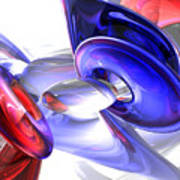 Red White And Blue Abstract Art Print by Alexander Butler
