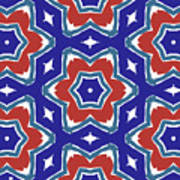 Red White And Blue Star Flowers 1- Pattern Art By Linda Woods Art Print